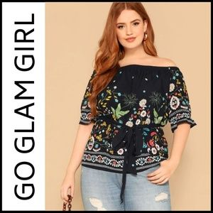 NWT PLUS SIZE Off Shoulder Navy Floral Top, 1X